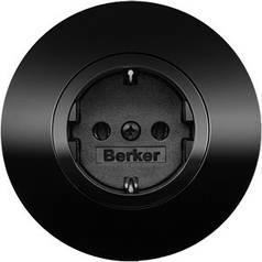 Розетка с заземлением Berker R.Classic черный/стекло черное