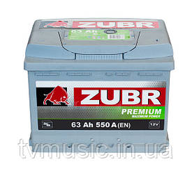 Автомобильный аккумулятор ZUBR PREMIUM 6 СТ-63 (евро) 550А