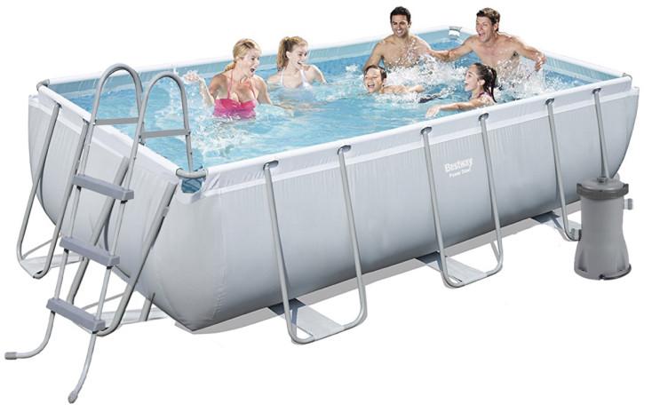 Каркасный бассейн Bestway 56441 404х201х100 см большой прямоугольный с картриджным фильтром и лестницей
