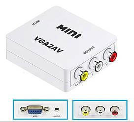 Конвертор VGA на RCA (AV) CVBS адаптер відео зі звуком 1080P White (5762)
