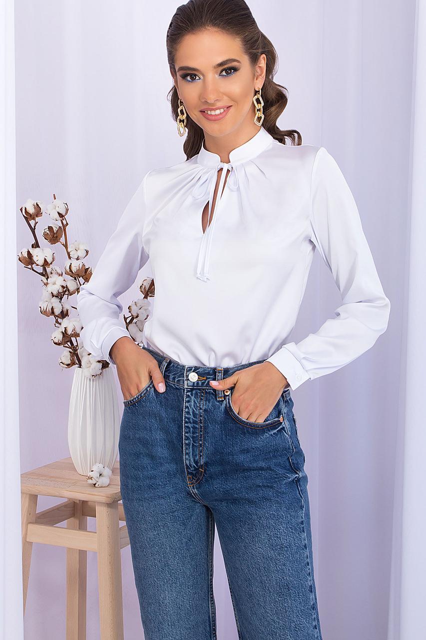 Белая блуза с длинным рукавом и стойкой на завязках рубашка женская размер 42-48