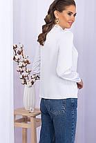 Белая блуза с длинным рукавом и стойкой на завязках рубашка женская размер 42-48, фото 3