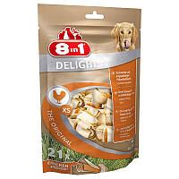 Коcточки жевательные для мелких собак 8in1 Delights Bones XS / 7,5см, 21 шт. в пакете