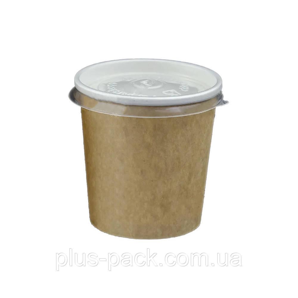 Емкость для первых блюд из бумаги КРАФТ/БЕЛЫЙ с крышкой, 500 мл, 400шт/ящ