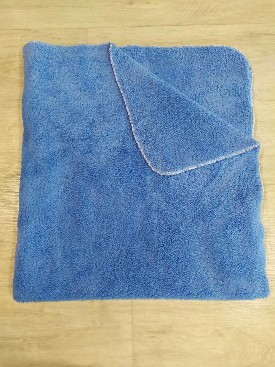 Плед двосторонній блакитний з махри Туреччина 90*90см ( в наявності блакитний, білий, коричневий, бежевий)