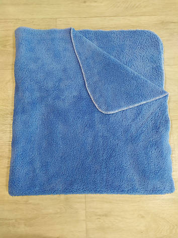 Плед двосторонній блакитний з махри Туреччина 90*90см ( в наявності блакитний, білий, коричневий, бежевий), фото 2