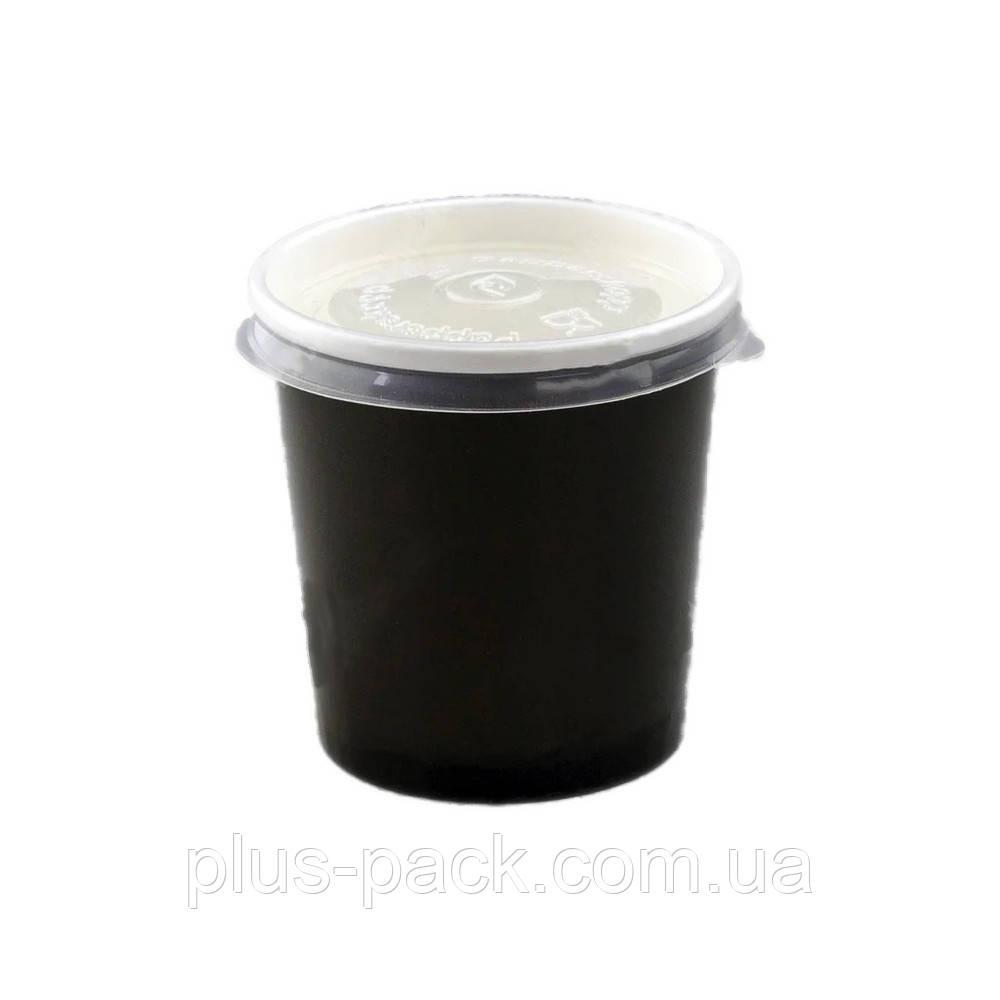 Ємність для перших страв з паперу ЧОРНИЙ/БІЛИЙ з кришкою, 500 мл, 400шт/ящ
