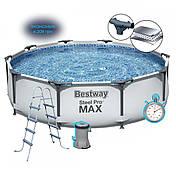 Каркасний басейн Steel Pro Max 56420 (366 x 122 см), з програмованим фільтром, сходами і тентом