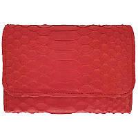 Женский кошелек из натуральной кожи питона, цвет красный