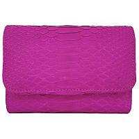 Женский кошелек из натуральной кожи питона, цвет розовый