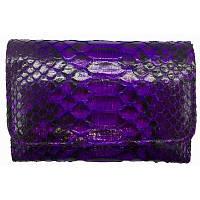 Женский кошелек из натуральной кожи питона, цвет фиолетовый