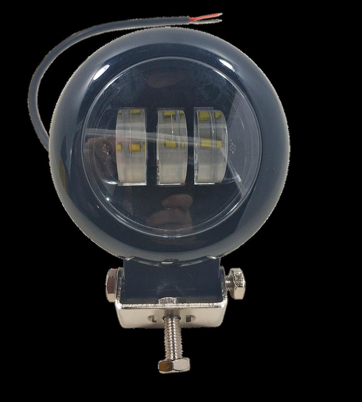 Фара светодиодная LED противотуманная круглая (3 диода) black