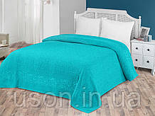 Турецька махрове простирадло євро розмір Тм Zeron Salkim Desen Turquoise бірюзовий