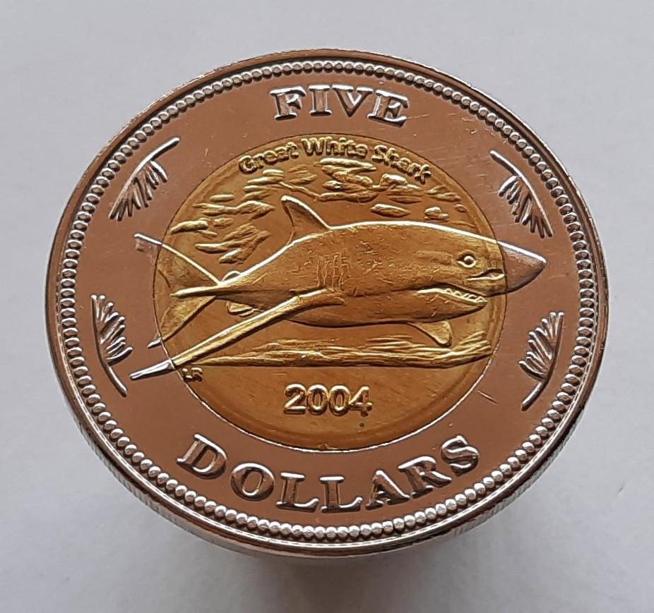 Кокосовые острова 5 долларов 2004