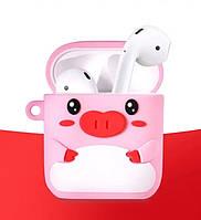 """Чохол для навушників AirPods + кільце-тримач зі свинкою """"Piggy"""" (рожевий), фото 1"""