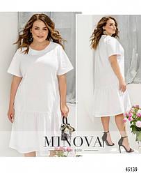 Минималистичное яркое белое платье большого размера, размеры: 46-48, 50-52, 54-56, 58-60, 62-64, 66-68
