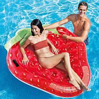 Надувной плотик Intex 58781 Клубничка (168 x 142 см) Strawberry Island | Модный яркий надувной матрас Интекс