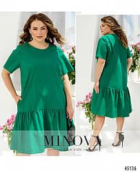 Минималистичное яркое зеленое платье большого размера, размеры: 46-48, 50-52, 54-56, 58-60, 62-64, 66-68