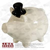 Копилка Свинка в чёрном цилиндре керамическая. Уценка.