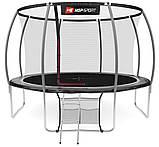 Батут для прыжков с внутренней сеткой 366 см черный с серым Hop-Sport Premium 12ft (366cm) black/grey, фото 3