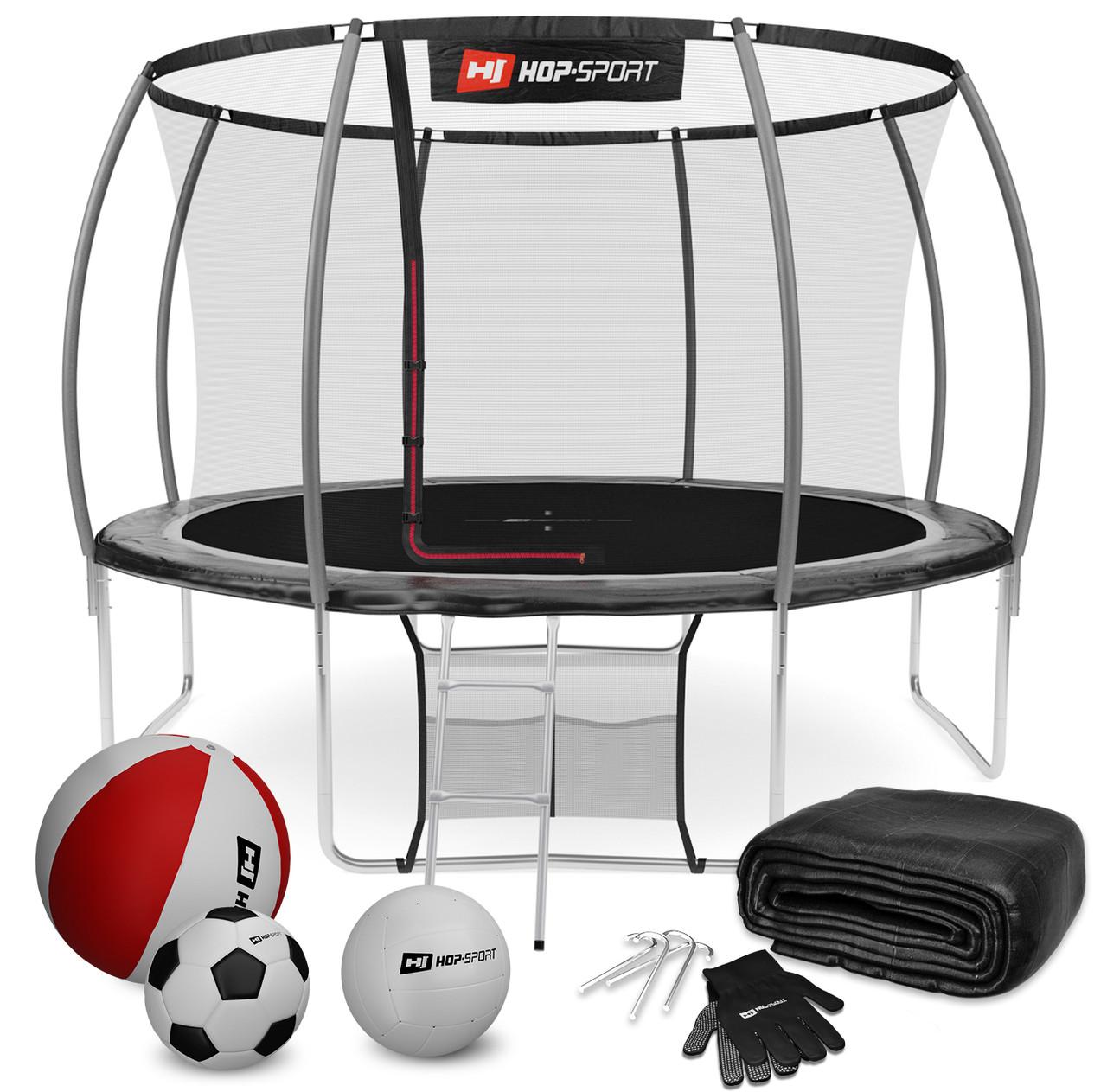 Батут для прыжков с внутренней сеткой 366 см черный с серым Hop-Sport Premium 12ft (366cm) black/grey