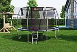 Батут для прыжков с внутренней сеткой 366 см черный с серым Hop-Sport Premium 12ft (366cm) black/grey, фото 4