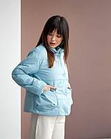 Демисезонная женская голубая куртка с карманами на молнии и кнопках 42, 44, 46, 48