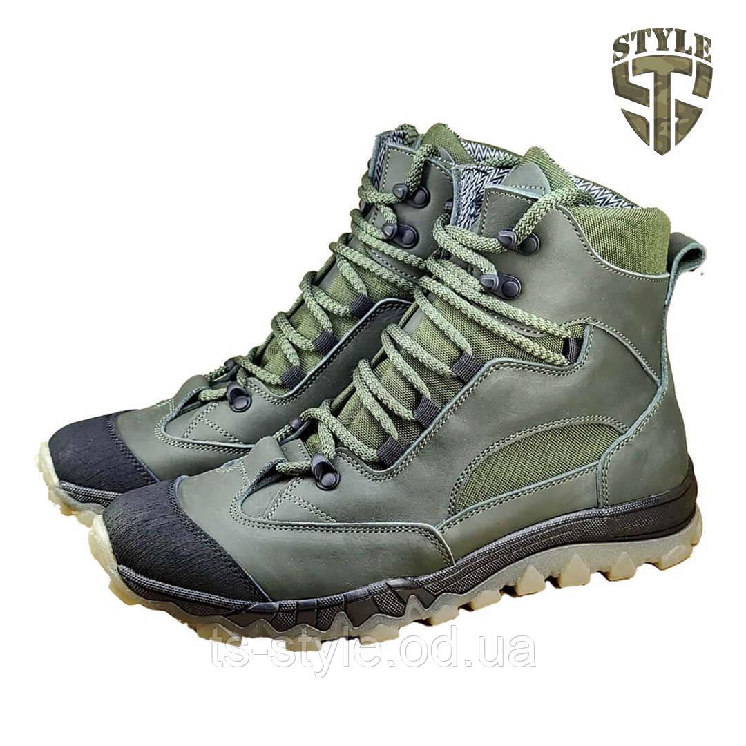 Трекінгові черевики B-5 зелені демі/зима