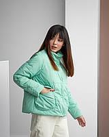 Мятная женская короткая куртка с карманами  42, 44, 46, 48