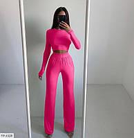 Прогулочный костюм женский модный эффектный кофта-топ и брючки свободного кроя р-ры  42-46 арт.  323