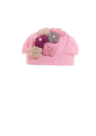 Детский красивый стильный розовый  беретик с жемчугом и цветами., фото 2