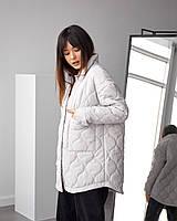 Трендовая демисезонная куртка-рубашка, из стеганной плащовки, молочная