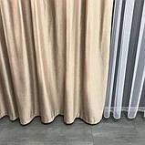 Готовий комплект оксамитових штор 200х270 на трубній стрічці з підхватами Якісні штори блекаут Колір Кавовий, фото 9
