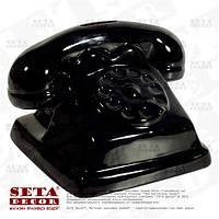Копилка Чёрный ретро телефон керамическая
