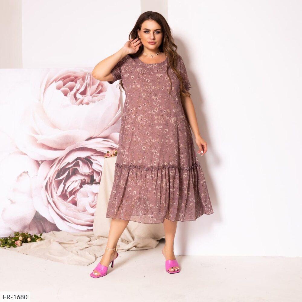 Женское шифоновое платье с цветочным принтом (Батал)