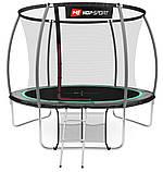 Батут для стрибків з внутрішньої сіткою 305 см чорний з зеленим Hop-Sport Premium 10ft (305cm) black/green, фото 3