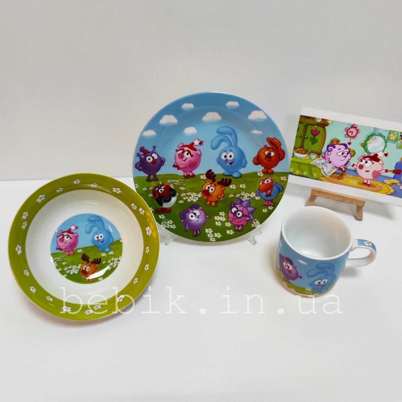 Керамічний набір дитячого посуду Смішарики для їжі