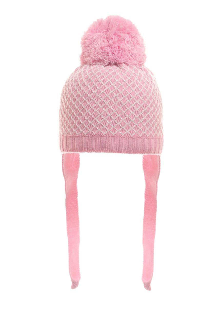 Розовая весенняя детская шапочка с пушистым помпоном и завязками под шею.