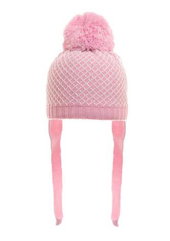 Розовая весенняя детская шапочка с пушистым помпоном и завязками под шею., фото 2