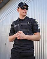 Футболка поло для Полиции влагоотводящая CoolPass черная с нанесением