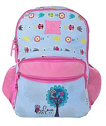 Рюкзак школьный для девочки Совы Голубой с розовым