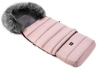 Зимний конверт Bair Arctic с удлинением  в коляску, в санки  розовый пудра