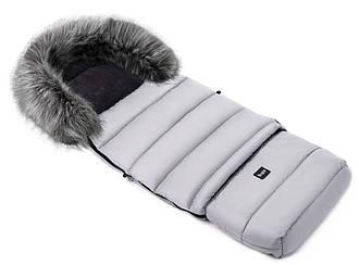 Зимний конверт Bair Arctic с удлинением  в коляску, в санки  серый