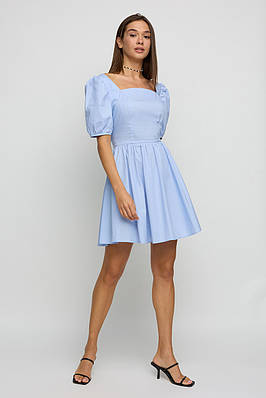 Коротке літнє блакитне жіноча сукня бавовняне
