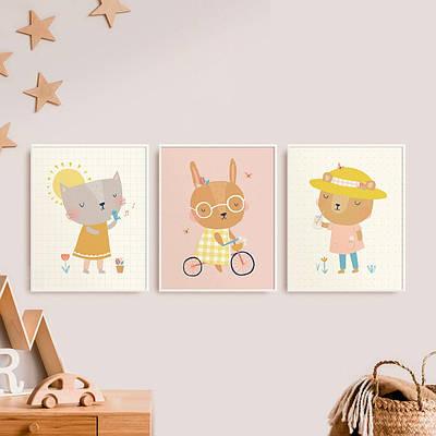 Набір постерів Bunny Bear Cat формат А3