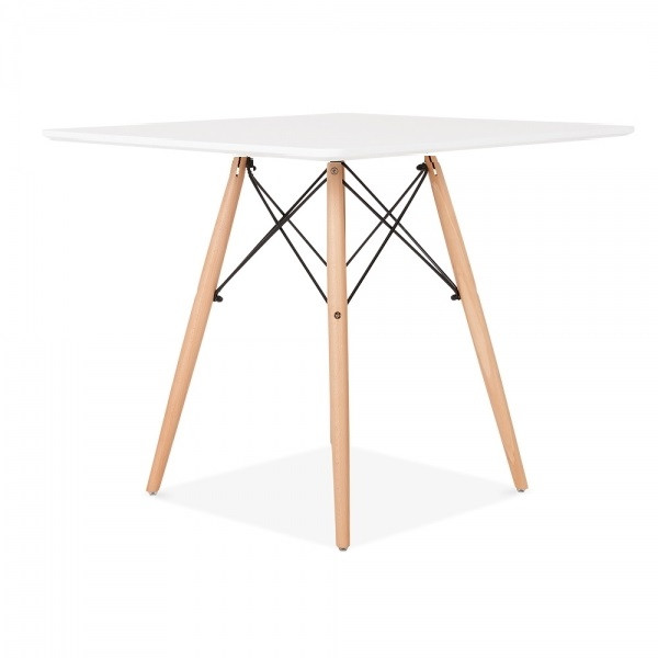 Квадратний стіл Бонд 2 білий на букових ніжках від SDM Group, 60*60 см