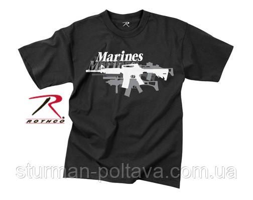 Футболка чоловіча вінтажна принт Автомат vintage black marines 'gun' чорна Rothco США розмір L