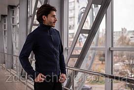 Чоловіча кофта флісова на блискавці синя SKL59-259554