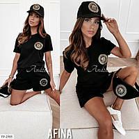 Спортивний костюм жіночий модний стильний на літо з принтом шорти з футболкою р-ри 42-46 арт. 532