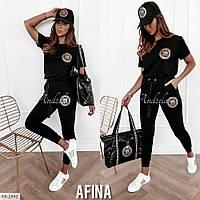 Спортивный костюм женский модный футболка и штаны из двунитки  р-ры 42-46 арт. 528